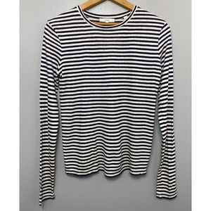 VINCE Black+White Textured Striped Long Sleeve Top